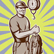 Fly Fisherman Weighing In Fish Catch  Art Print