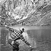 Fly Fishing In A Mountain Lake Art Print