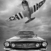 Fly Past - 1966 Mustang With P47 Thunderbolt In Black And White Art Print