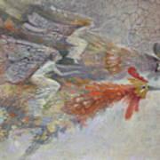 Flying Fairies. Monotype Art Print