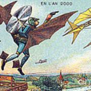Flying Policemen, 1900s French Postcard Art Print