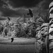 Flying Ravens And Totem Poles In Black And White Art Print