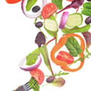 Flying Salad Art Print