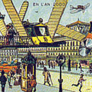 Flying Taxicabs, 1900s French Postcard Art Print