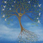 Flying Tree Print by Tone Aanderaa