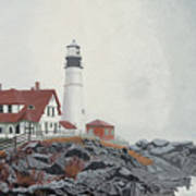 Fog Approaching Portland Head Light Art Print
