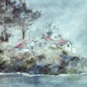 Fog At Batterypoint Lighthouse Art Print