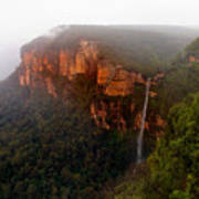 Fog Sunrise And Waterfalls Art Print