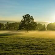 Foggy Autumn Morning On The Farm Art Print