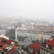 Foggy Day At Lisbon. Portugal Art Print