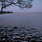 Foggy Lake At Night Art Print