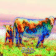 Foggy Mist Cows #0090 Arty Art Print