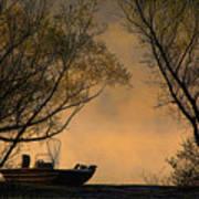 Foggy Morning Fishing Boat Art Print