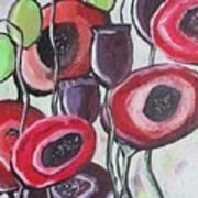 Foggy Poppy Art Print