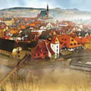 Foggy Small Town Art Print