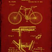 Folding Bycycle Patent Drawing 1f Art Print
