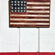 Folk Art American Flag On Wooden Wall Art Print