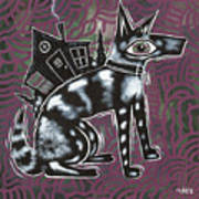 Dog House Folk Art Art Print