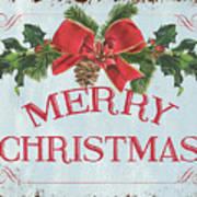 Folk Merry Christmas Art Print