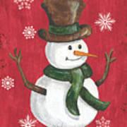 Folk Snowman Art Print