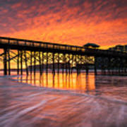 Folly Beach Pier And Waterfront Development Charleston South Carolina Art Print