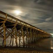 Folly Beach Pier At Full Moon Art Print