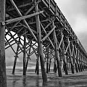 Folly Beach Pier Black And White Print by Dustin K Ryan