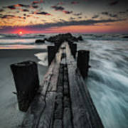 Folly Beach Tale Of Two Sides Art Print