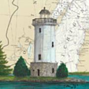 Fon Du Lac Lighthouse Wi Nautical Chart Map Map Art Print
