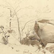 Fontainebleau, Figure Leaning Against A Rock Art Print