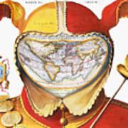 Fools Cap World Map, C1590 Art Print