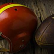 Football Helmet And Football Art Print