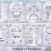 Football Patent History Blueprint Art Print