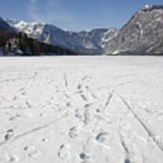 Footprints On A Frozen Lake Art Print