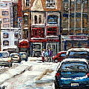 For Sale Original Paintings Montreal Petits Formats A Vendre Downtown Montreal Rue Stanley Cspandau  Art Print