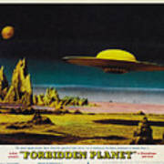 Forbidden Planet In Cinemascope Retro Classic Movie Poster Detailing Flying Saucer Art Print