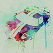 Ford Gt Top Watercolor  Art Print by Naxart Studio