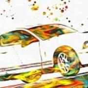 Ford Mustang Paint Splatter Art Print