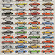 Ford Mustang Timeline History 50 Years Art Print
