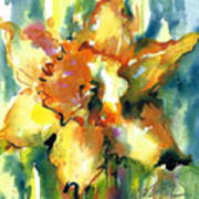 Forest Daffodil In Rain Art Print