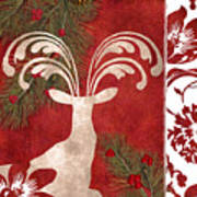 Forest Holiday Christmas Deer Art Print