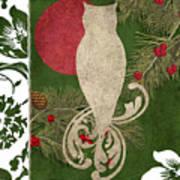 Forest Holiday Christmas Owl Art Print
