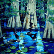 Forest In Water Art Print