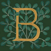 Forest Leaves Letter B Art Print