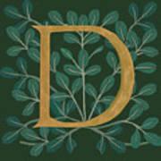 Forest Leaves Letter D Art Print