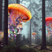 Forest Of Jellyfish Worlds Art Print
