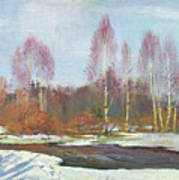 Forest River In Winter Art Print