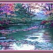 Forest River Scene. L B With Decorative Ornate Printed Frame. Art Print