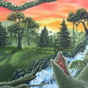 Forest Sunset Cascade Art Print