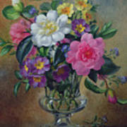 Forget Me Nots And Primulas In Glass Vase Art Print